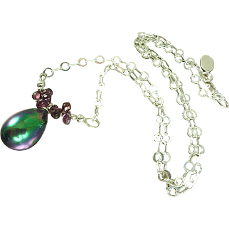 South Sea Shell Pearl and Garnet Sterling Silver Necklace-January Birthstone Layering Necklace