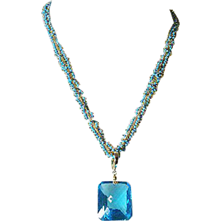 Topaz-67.37 ctw & Turquoise Cluster Necklace