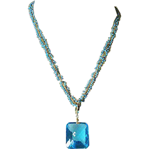 Blue Topaz and Turquoise Cluster Necklace, 67.37ctw