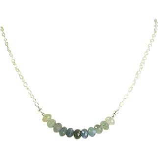 "Ombre Sapphire ""Bar"" Birthstone Necklace, September Birthstone Layering Necklace"