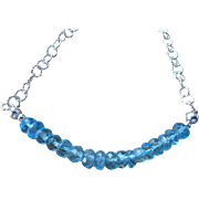 "Blue Topaz ""Bar"" Birthstone Necklace, November Birthstone Layering Necklace"