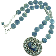 Kyanite and Balinese Sterling Silver Statement Necklace