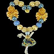 Blue Paris Doll Necklace