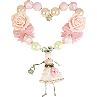 Pink Paris Doll Large Beaded Necklace