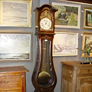 French  Mahogany Mobier Mahogany Grandfather Clock with Lady Justice