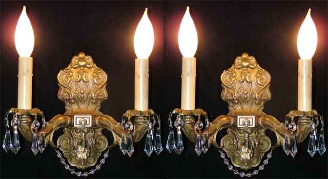 Beautiful Pair French Crystal Brass Sconces