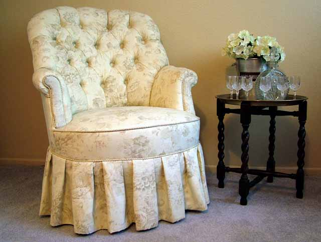 Vintage Boudoir Vanity Chair in Designer  Rose Toile Fabric