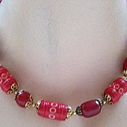 Early Red & Burgundy Celluloid Bead Necklace