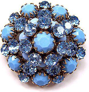Schreiner Baby Blue Glass Pin Brooch