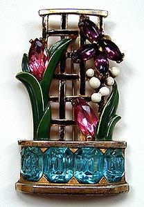 1940's Enamel & Glass Figural Garden Trellis Pin