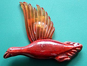 1940s California Pottery Elzac Ceramic & Lucite Flying Duck Pin