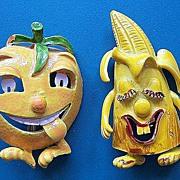 Vintage Enameled Goofy Face Fruit Pins by Wesco