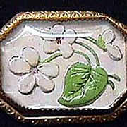 Vintage Painted Intaglio & Glass Pin ~ White Flowers