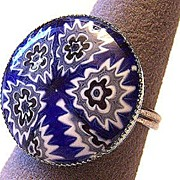 Vintage Blue Millefiori Glass Ring ~ Adjustable