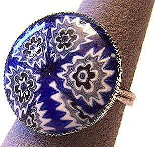 Vintage Blue Millefiori Glass Ring ~ Adjustable
