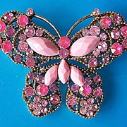 Pink Glass Butterfly Pin ~ Ornate Setting