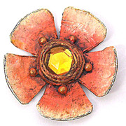 ENID COLLINS Papier Mache Flower Pin Brooch