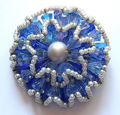 Vendome Blue Crystal Bead & Faux Pearl Ruffle Brooch