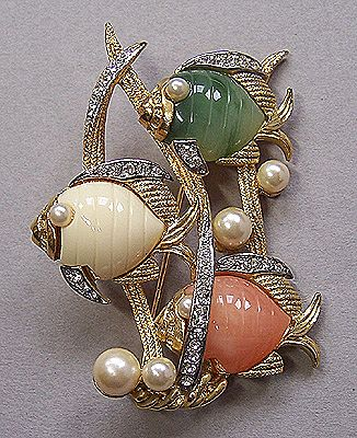 Hattie Carnegie Triple Fish in the Sea Pin Brooch