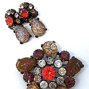 Claudette Orange Art Glass Brooch & Clip Earring Set