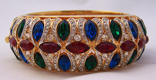 Magnificent Jeweled Hinged Clamper Bracelet by PARK LANE