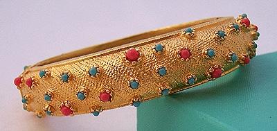 Etruscan Style Bracelet ~ Faux Coral & Turquoise Cabs ~ Park Lane