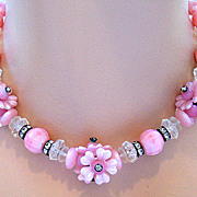 Pink Plastic Floral & Rhinestone Necklace