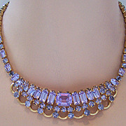 KRAMER NEW YORK Faux Alexandrite Collar Necklace & Clip Earring Demi