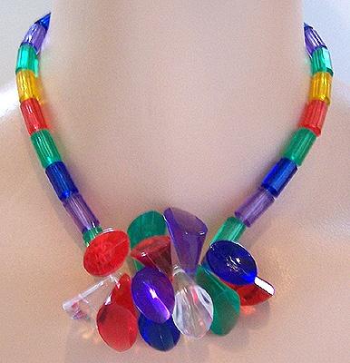Multicolor Jeweltone Plastic Prisms & Beads Necklace