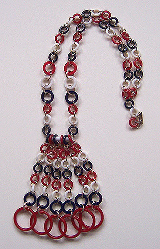 Vintage Red, White & Blue Plastic Rings & Dangles Necklace