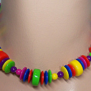 Vintage Multicolor Plastic Bead Choker Necklace
