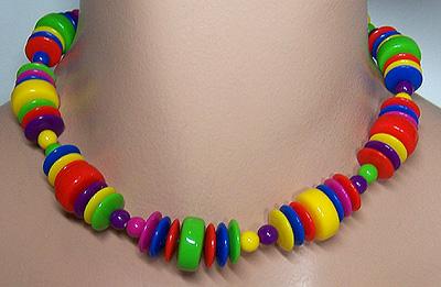 Vintage Multicolor Plastic Bead Choker Necklace