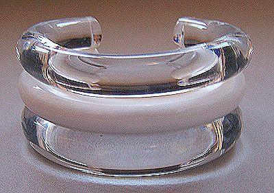 Judith Hendler Clear & White Lucite Cuff Bracelet