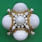Magnificent Schreiner White Milk Glass Brooch Pendant