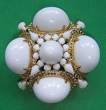 Magnificent Schreiner White Milk Glass Brooch Pendant
