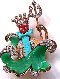 Hattie Carnegie King Neptune Figural Pin Brooch