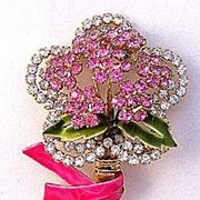 VENDOME Pink & Clear Rhinestone Flower Pin