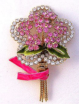 VENDOME Pink & Clear Rhinestone Flower Pin
