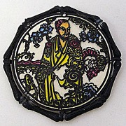 "1970s JanMax Asian Theme ""Stained Glass"" Style Brooch"