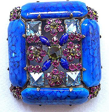 Incredible SCHREINER Blue, Fuschia & Green Art Glass & Floral Brooch