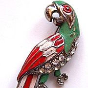 1940s Colorful Enamel & Rhinestone Parrot Pin
