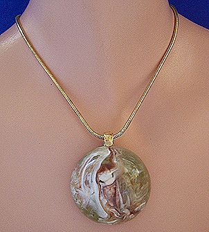 Modernist Marbled Lucite Pendant Necklace ~ Sage Green, Cream, Brown