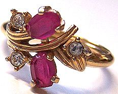 Avon Royal Radiance Pink & Clear Glass Ring Sz 8.5