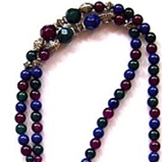 Mod Jeweltone Lucite Bead Sautoir Necklace