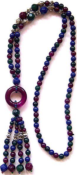 Mod Jeweltone Lucite Bead Sautoir Necklace