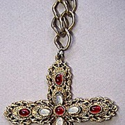 Large CELEBRITY Neo-Renaissance Cross Pendant Necklace ~ Faux Moonstones & Garnets