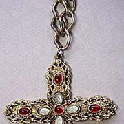 Large CELEBRITY Neo-Renaissance Cross Pendant Necklace ~ Faux Moonstones & Garnets