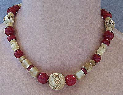 French Deco Carved Galalith & Cherry Bead Necklace