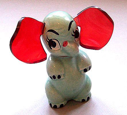 Elzac California Pottery Ceramic & Lucite Elephant Figurine