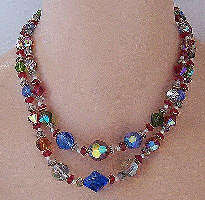 2-Strand Multicolor Aurora Borealis Crystal Bead Necklace
